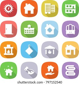 flat vector icon set - sun power vector, home, houses, modular house, door, university, smart, dresser, fireplace, rag, warehouse, cleaning, wiping, housing, towel