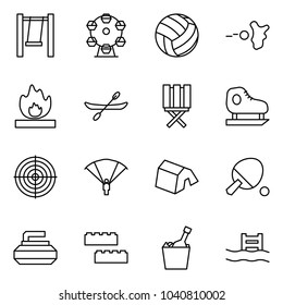 Flat vector icon set - swing vector, ferris wheel, volleyball, paintball, fire, canoe, stool, skates, target, paraplane, tent, ping pong, curling, blocks, fizz, pool