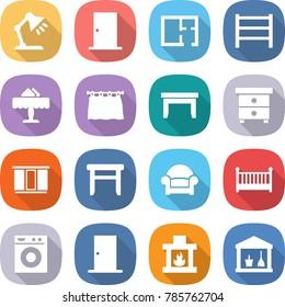 flat vector icon set - table lamp vector, door, plan, rack, restaurant, curtain, nightstand, wardrobe, stool, armchair, crib, washing machine, fireplace, utility room
