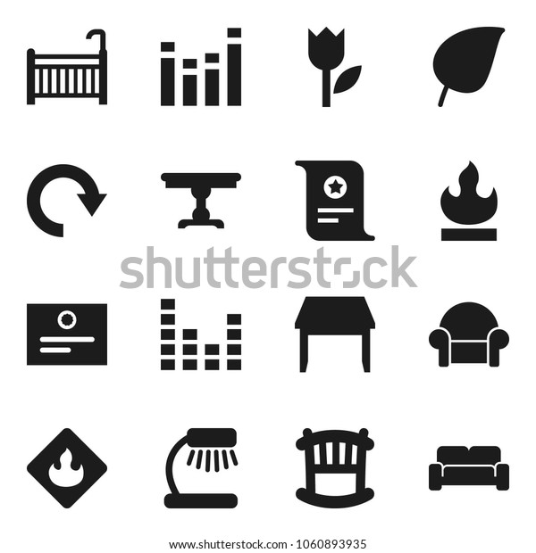 Flat vector icon set - table lamp vector, certificate, leaf, tulip, flammable, equalizer, redo, crib, cushioned furniture