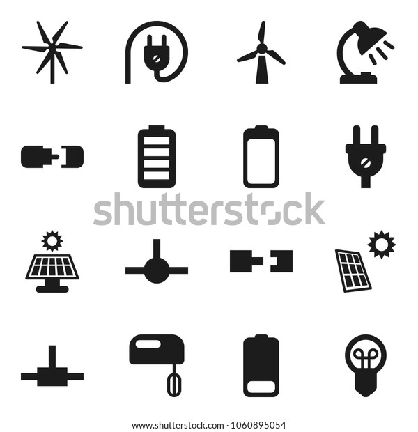 Flat vector icon set - table lamp vector, battery, connect, connection, solar panel, windmill, power plug, mixer, bulb
