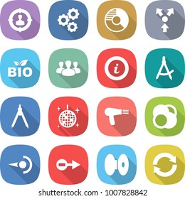flat vector icon set - target audience vector, gear, circle diagram, core splitting, bio, group, info, draw compass, drawing compasses, disco ball, hair dryer, atom, photon, electron, coil, reload