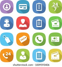 flat vector icon set - target audience vector, card, clipboard, 24 7, call center, woman, credit, label, sale, phone, support manager