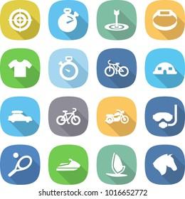 flat vector icon set - target vector, stopwatch, smart bracelet, t shirt, bike, dome house, car baggage, motorcycle, diving mask, tennis, jet ski, windsurfing, horse
