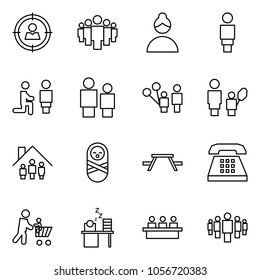 Flat vector icon set - target audience vector, group, woman, marry me, man and child, father son, mother daughter, family home, baby, picnic table, phone, cart, sleeping manager, meeting