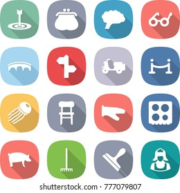 flat vector icon set - target vector, purse, brain, pacemaker, bridge, signpost, scooter shipping, vip fence, jellyfish, chair, cook glove, hob, pig, rake, scraper, cleaner
