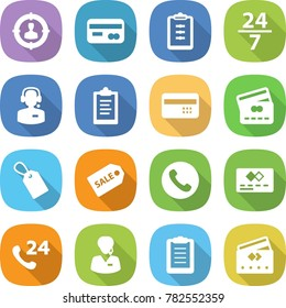 flat vector icon set - target audience vector, card, clipboard, 24 7, call center, credit, label, sale, phone, support manager