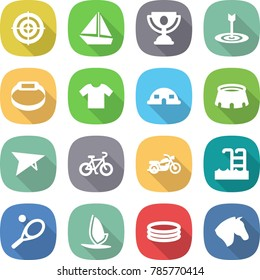 flat vector icon set - target vector, boat, trophy, smart bracelet, t shirt, dome house, stadium, deltaplane, bike, motorcycle, pool, tennis, windsurfing, inflatable, horse