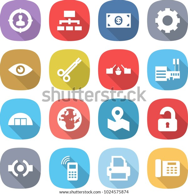 Flat Vector Icon Set Target Audience Stock Vector (Royalty