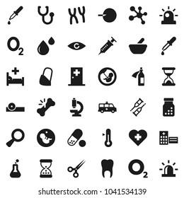 Flat vector icon set - thermometer vector, pills, molecule, heart cross, oxygen, flask, eye, magnifier, pregnancy, insemination, syringe, dropper, crutches, scissors, broken bone, sand clock, bottle