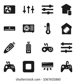 Flat vector icon set - thermometer vector, gamepad, settings, remote control, stop button, equalizer, air conditioner, arr condition, smart home