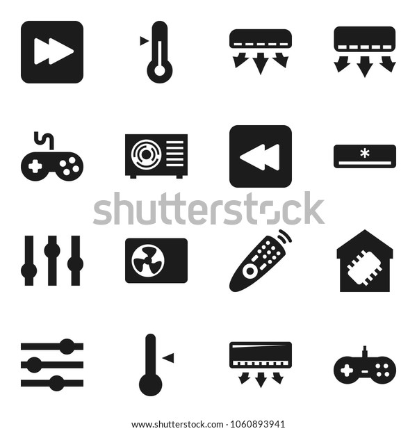 Flat vector icon set - thermometer vector, gamepad, settings, remote control, forward button, backward, equalizer, air conditioner, smart home