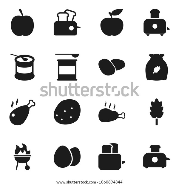 Flat vector icon set - toaster vector, bbq, cereal, egg, potato, chicken leg, diet, sports nutrition