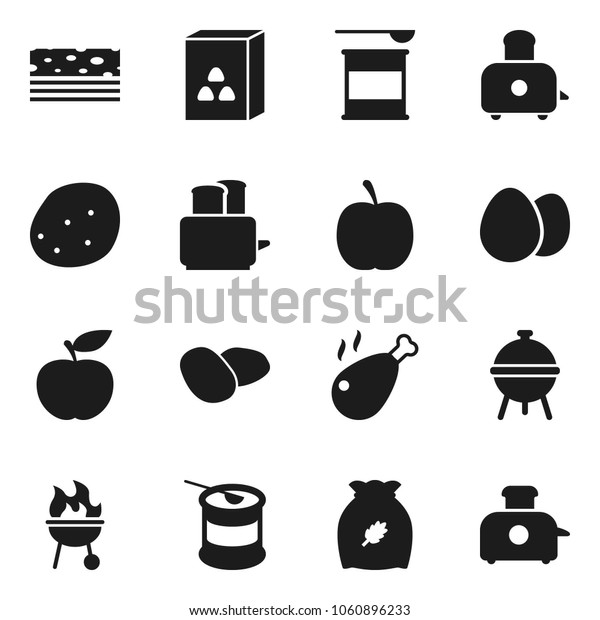 Flat vector icon set - toaster vector, bbq, cereal, egg, potato, chicken leg, diet, sports nutrition, breads