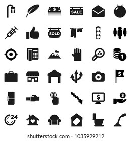 Flat vector icon set - toilet vector, drying clothes, rubber glove, pen, case, crisis, investment, coin stack, target, man, dollar flag, monitor, fitball, traffic light, warehouse, camera, finger up