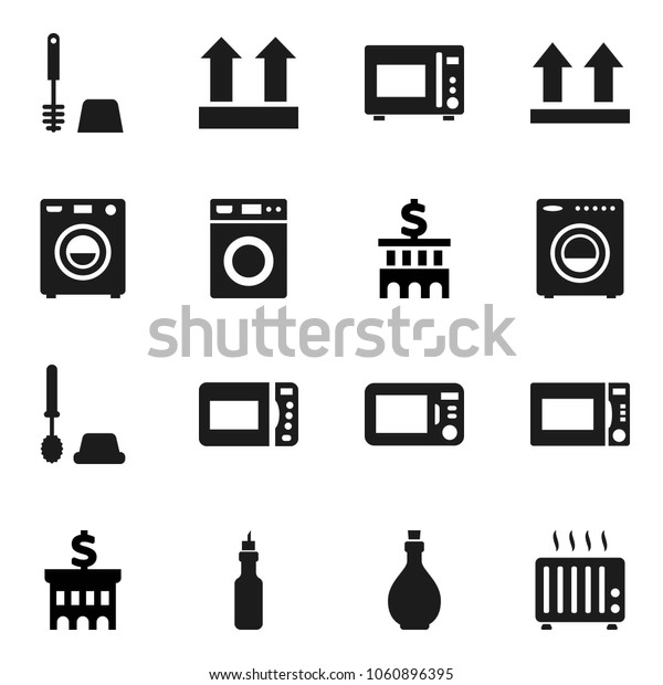 Flat vector icon set - toilet brush vector, washer, oil, microwave oven, bank building, top sign, heater