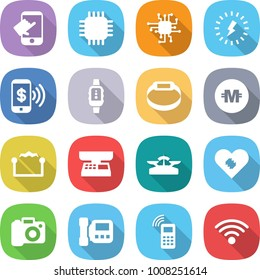 flat vector icon set - touch vector, chip, lightning, phone pay, smart watch, bracelet, crypto currency, electrostatic, market scales, pacemaker, camera, intercome, mobile, wireless