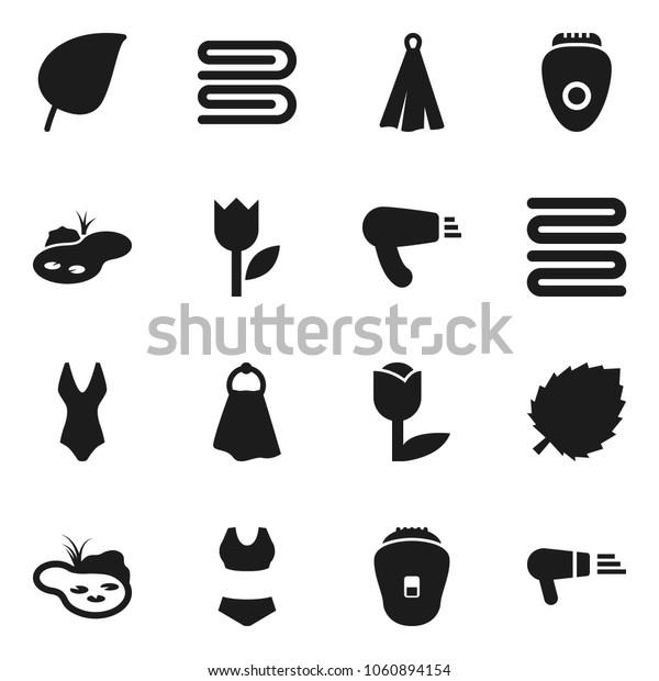 Flat vector icon set - towel vector, leaf, swimsuite, tulip, pond, epilator, hair dryer