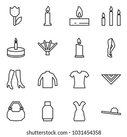 Flat vector icon set - tulip vector, candle, candles, fan, legs, boots, turtleneck, blouse, shawl, lady bag, skirt, dress, female hat