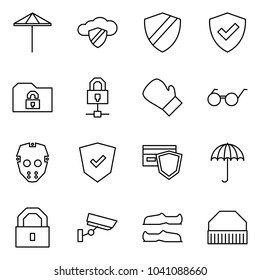 Flat vector icon set - umbrella vector, cloud safe, shield, folder, locked connect, box, glasses, mask, payment, lock, surveillance, galoshes, sport hat
