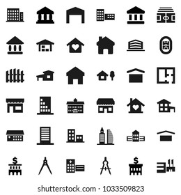 Flat vector icon set - university vector, school building, drawing compass, bank, stadium, dry cargo, hospital, home, cottage, chalet, barn, fence, plan, apartments, office, love, store, mall