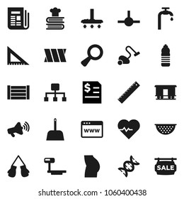 Flat vector icon set - vacuum cleaner vector, scoop, colander, cookbook, corner ruler, annual report, heart pulse, buttocks, boxing glove, water bottle, wood box, big scales, Railway carriage, dna