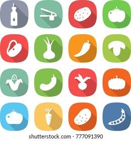 flat vector icon set - vegetable oil vector, garlic clasp, potato, tomato, beans, onion, hot pepper, mushroom, corn, eggplant, beet, pumpkin, carrot, peas