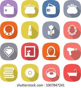 flat vector icon set - wallet vector, purse, necklace, lipstick, perishable, hawaiian wreath, heart pendant, flower in window, mirror, hair dryer, towels, soap, bath