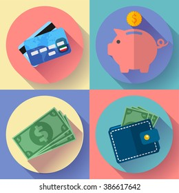 Flat Vector icon Set Wallet, credit card, pig and Money with long shadow