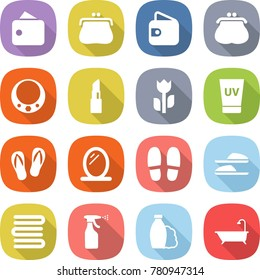 flat vector icon set - wallet vector, purse, necklace, lipstick, perishable, uv cream, flip flops, mirror, slippers, towels, sprayer, shampoo, bath