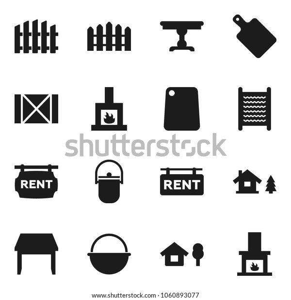 Flat vector icon set - washboard vector, camping cauldron, cutting board, wood box, chalet, fence, rent signboard, table, fireplace