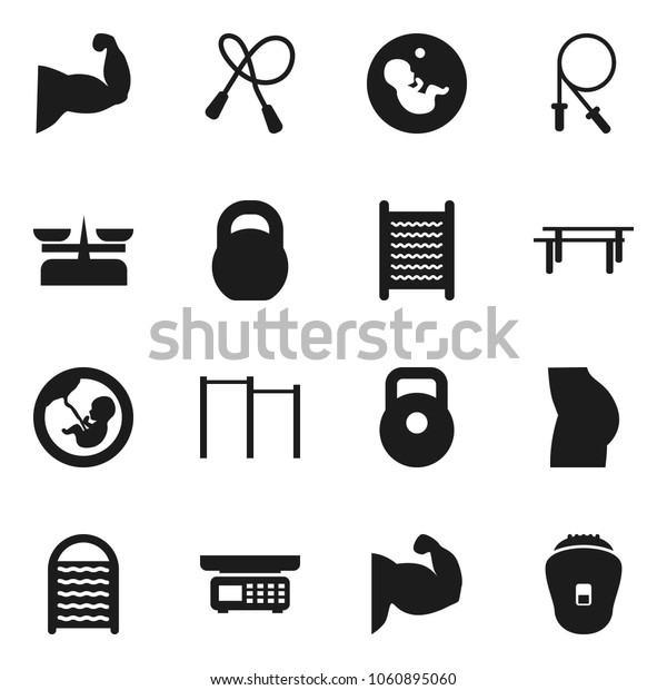 Flat vector icon set - washboard vector, weight, jump rope, horizontal bar, muscule hand, buttocks, pregnancy, store scales, epilator