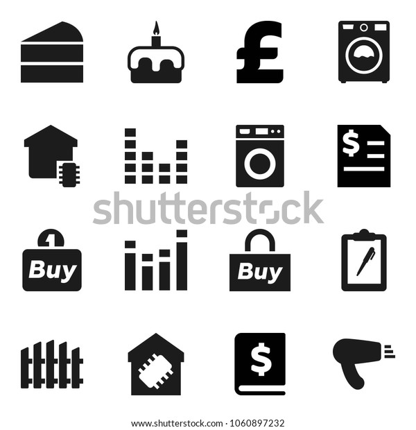 Flat vector icon set - washer vector, cake, annual report, pound, clipboard, equalizer, fence, smart home, buy, hair dryer