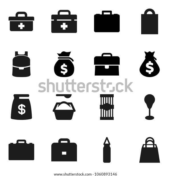 Flat vector icon set - washing powder vector, pasta, case, backpack, money bag, punching, doctor, shopping