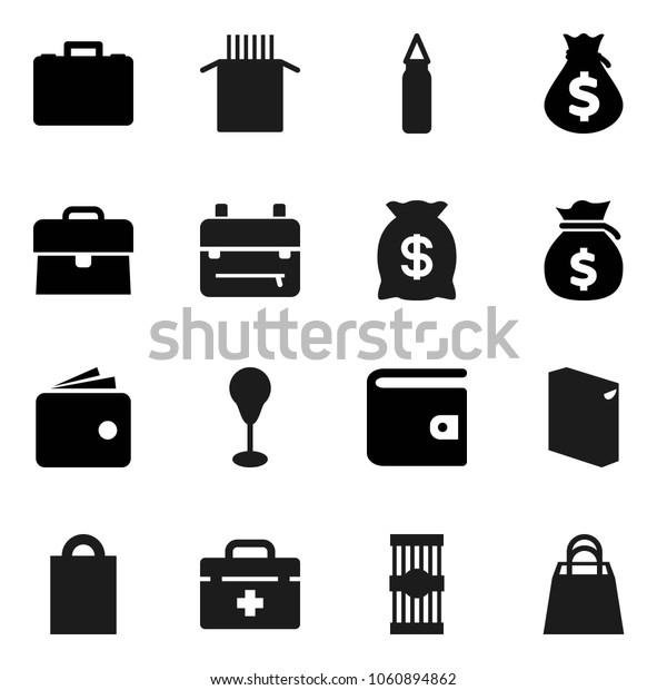 Flat vector icon set - washing powder vector, pasta, backpack, wallet, money bag, case, punching, doctor, shopping