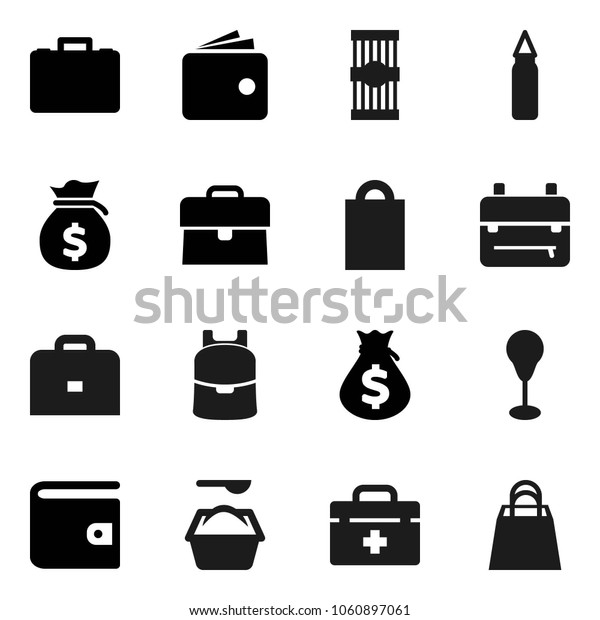 Flat vector icon set - washing powder vector, pasta, case, backpack, wallet, money bag, punching, doctor, shopping