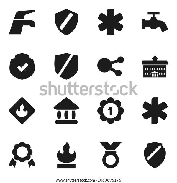 Flat vector icon set - water tap vector, university, medal, protected, flammable, social media, ambulance star, shield