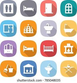 flat vector icon set - wc vector, hospital bed, door, arch window, plan, hotel, sink, bath, dresser, crib, fireplace, bucket and broom, utility room, water tap, iron board