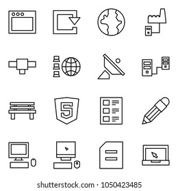 Flat vector icon set - window vector, reload, earth, factory server, connection, network, satellite antenna, connected servers, local, html5, list, pencil, pc, document, notebook