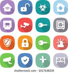 flat vector icon set - wireless home vector, unlock, biohazard, smart house, atm, surveillance, key, safe, shield, locked, alarm, camera, scarecrow, farm fence
