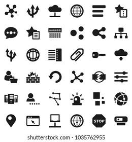 Flat vector icon set - world vector, internet, social media, connection, network, notebook, cloud, server, browser, equalizer, menu, firewall, hub, share, favorites, message, undo, download, loading