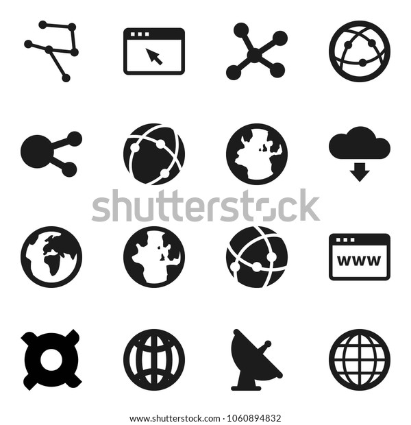 Flat vector icon set - world vector, any currency, earth, satellite antenna, internet, social media, connection, network, browser, cloud download, globe
