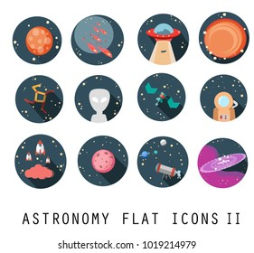 Flat vector icon set-UFO,Venus,Meteor,Sun,Constellation,Alien,Satellite,Astronaut,Spaceship.Colorful planets set. Vector illustration.