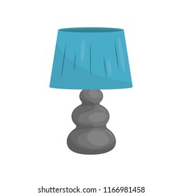 Flat vector icon of small bedside lamp with gray stand and blue lampshade. Modern home decor element