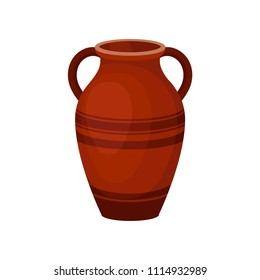 Flat vector icon of tall ceramic jug for wine. Old brown vase with two handles and decorated with stripes. Large clay pitcher