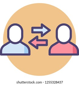 Flat vector icon of two people and opposite arrows illustration, conflict of interest concept