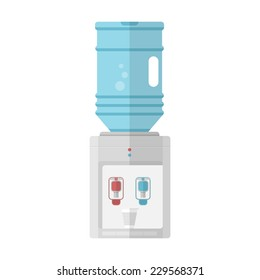 Flat vector icon for water cooler. Gray water cooler with blue full bottle and cup. Flat vector icon on white background.