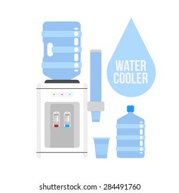 Flat vector icon  water cooler. Water cooler with blue full bottle and cup. Flat vector icon on white background.