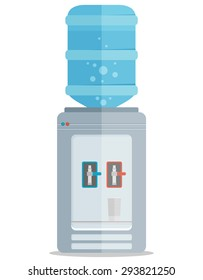 Flat vector icon for water cooler. Gray water cooler with blue full bottle and cup.