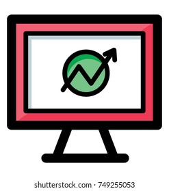 Flat vector icon of web analytics, could be business related